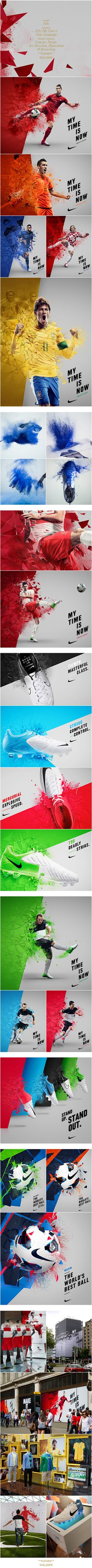 Nike 2012 My Time Is Now Campaign | Concept, art direction and illustration by Golden. Photography by Dan Tobin-Smith. Player retouching by Happy Finish.