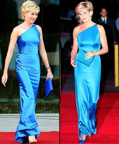 Naomi Watts as Princess Di in a gorgeous blue Versace gown