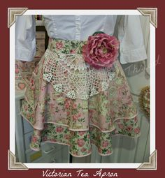 Victorian Tea Handmade half apron by mimisneedle on Etsy