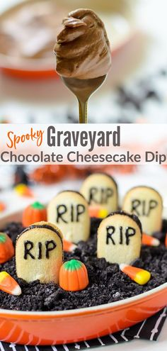 "A dessert dip that tastes like a decadent chocolate cheesecake. Topped with crunchy chocolate cookie ""dirt"" and vanilla cookie ""tombstones,"" this easy recipe is the perfect Halloween treat.#halloween #dessert @wellplated"