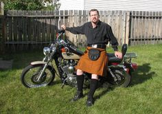 kilt on a motorcycle  I'm not sure how I feel about this with regard to ATGATT but I could certainly see myself doing this.
