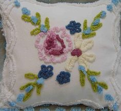 "Vintage Chenille Cottage ShaBBy Chic Chenille Pastel  Flower 14"" Pillow. $39.00, via Etsy."