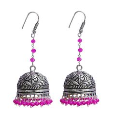 Silvestoo India Eternity Wear Silver Polished Jhumka Earring With Pink Crystal Beads PG-101487  #jewelry #jhumki #women #fashion #traditional #designer #yellow #silver #jhumka #dangle #earring #silvestoindia #antique