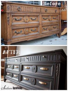 This black painted dresser is gorgeous! Getting rid of the wood grain lets you see the beauty of the details.: