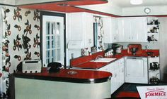 notice island jutting out of the wall - door dividing kitchen: great idea for the new house with similar situation.