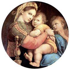 "Firenze - Palazzo Pitti - Raffaello: ""Madonna della Seggiola"" - ca. Virgin Mary Art, Blessed Virgin Mary, Most Famous Paintings, Famous Artists, Popular Paintings, Italian Renaissance, Renaissance Art, Virgin Mary, Art History"