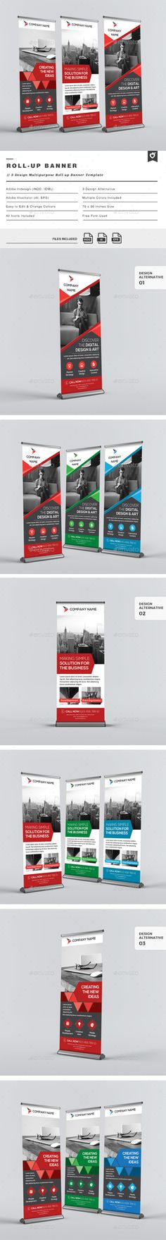 Buy Multipurpose Roll-up Banners by LeafLove on GraphicRiver. Multipurpose roll-up banners template. This layout is suitable for any project purpose. Very easy to use and customis. Banner Vector, Banner Template, Web Banner, Banners, Bunting Design, Roll Up Design, Rollup Banner, Retail Signage, Rack Card