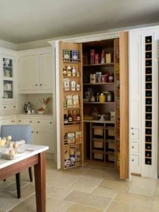 43 Smart Kitchen Storage Design Ideas For Kitchen - Designing a custom kitchen in your home for your new or renovated home can be a dream come true or a living nightmare. Todays homeowners are more lik. Smart Kitchen, Clever Kitchen Storage, Kitchen Pantry Design, Kitchen Pantry Cabinets, Kitchen Storage Solutions, Pantry Storage, Pantry Organization, Food Storage, Kitchen Ideas