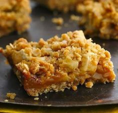Caramel Apple Bars - Do you have extra apples but don't feel like making a pie? Try this easy-to-make bar with layers of brown sugar and oats surrounding apples and melted caramel.