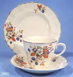 J & G Meakin Antique Sunshine Vintage Tea Cup Saucer and Tea Plate Trio Alfred Meakin, Chocolate Cups, Plates And Bowls, Tea Cup Saucer, Vintage Tea, Teacups, Pyrex, Afternoon Tea, Bone China