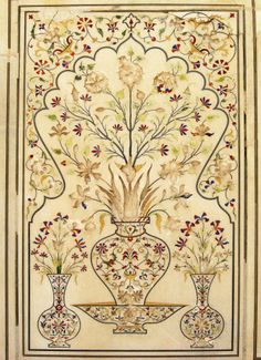 Wall panel decorated with finest pietra dura inlay in Lahore.
