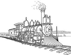 Railroad, : Amazing Steam Train on Railroad Coloring Page- INDUSTRIAL REVOLUTION