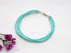 3 strand Ocean Green MIYUKI seed bead bracelet  door cobaltcorundum