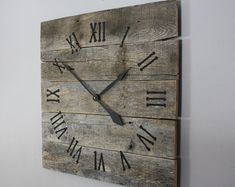 Large Rustic Wall Clock, Reclaimed Gray Pallet Wood CUSTOM.  Natural.  Raw Wood.  Repurposed Wood.