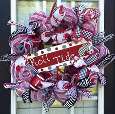 Alabama Deco Mesh Wreath Crimson Tide Front by SouthernWreathsAL Alabama Door Wreaths, Alabama Football, Roll Tide, Deco Mesh Wreaths, Crimson Tide, 4th Of July Wreath, College, Fan, Black And White