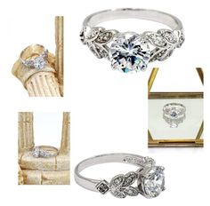 """""""Noble leaves crystal silver  ring"""" by oceanfashion on Polyvore"""