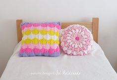decorative pillow knit pattern x 2: clamshell & Pinwheel BUNDLE - square and round cushions PHOTO tutorial - Instant DOWNLOAD