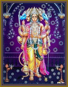 In Patala, Hanuman discovers that to kill Mahiravana, he must extinguish five lamps. Hanuman assumes the Panchamukha or five-faced form of Sri Varaha facing north, Sri Narasimha facing south, Sri Garuda facing west, Sri Hayagriva facing the sky and his own facing the east, and blows out the lamps. Hanuman then rescues Rama and Lakshmana. Afterwards, Rama asks Hanuman to crown Makardhwaja king of Patala. Hanuman then instructs Makardhwaja to rule Patala with justice and wisdom.