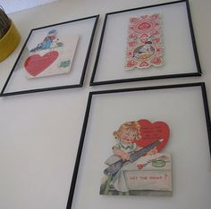 i have a box full of vintage valentines from my dad when he was a little kid, i love these frames as a way to display them!