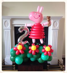 Peppa Pig balloon created by balloonblooms.co.uk
