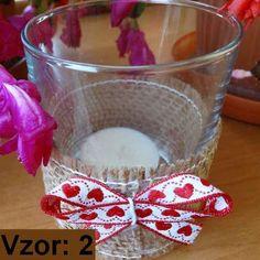 Svietnik sklenený s mašľou - Sviečka - S čajovou sviečkou (plus 0,10€), Vzor - Vzor 2