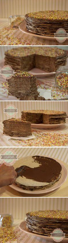 Tarta de obleas y Nutella / http://churretesdecocholate.blogspot.com.es/