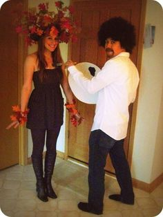 Another awesome Halloween costume!!!  Bob Ross and a Happy Little Tree.