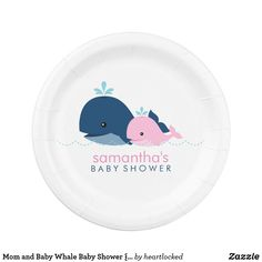 Mom and Baby Whale Baby Shower {pink} Paper Plate Whimsical and sweet baby shower plates feature an adorable vector illustration of a whale mommy and a baby whale. Perfect for boys, girls or neutral gender baby showers.