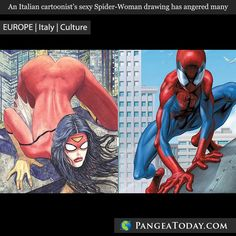 What do you think of this Italian artist's controversial sexy Spider-Woman? Find out more at PangeaToday.com #news #Italy #Europe #cartoon #drawing #art #animation #comic #women #men #gender #follow #picoftheday #photooftheday