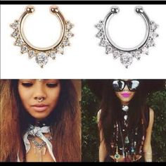 Host PickNO PIERCING septum ring w rhinestones NO PIERCING REQUIRED. Brand new with tags. 3 different septum rings available. Feel free to create a bundle if you want all three. Gold, Silver and Rose Gold . Price firm on individual buys. 25 % off on 3+ bundles. Questions are welcome. Thankyou and namaste Jewelry Rings