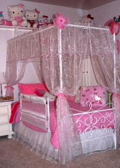 DIY canopy w/ window valance/panels. I only like this one because of all the Hello Kittys Hello Kitty Room Decor, Hello Kitty Bedroom, Princess Room, Princess Bedrooms, Princess Canopy, Girls Bedroom, Bedroom Decor, Ideas Habitaciones, Diy Canopy