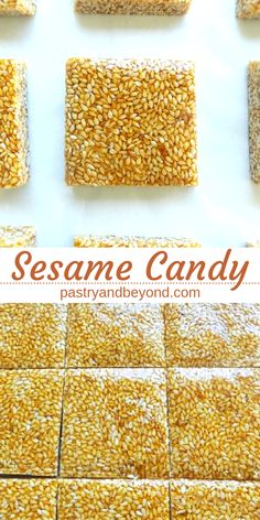 Sesame Candy-This delicious and crunchy sesame candy recipe is so easy to make! You only need 2 ingredients! Sesame Candy-This delicious and crunchy sesame candy recipe is so easy to make! You only need 2 ingredients! Homemade Sweets, Homemade Candies, Homemade Food Gifts, Homemade Marshmallows, Sesame Seeds Recipes, Recipe With Sesame Seeds, Sesame Seed Cake Recipe, Sesame Bar Recipe, Sesame Brittle Recipe