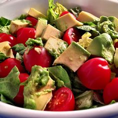 Spinach, cherry tomatoes and avocado salad. LOW CARB day. Learn all about carb cycling and the Chris Powell Vemma Bode products at www.rockyourhealth.vemma.com
