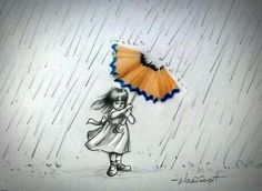 Amazing Sketch Of A Little Girl In Rain Holding A Pencil Shaving As Umbrella.