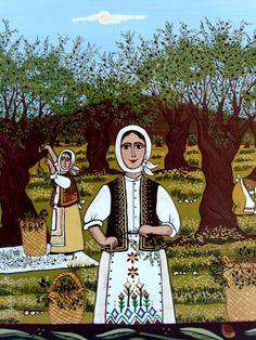 Θέμα Μαρτίου: Λαϊκή Παράδοση στην Ελλάδα! Fall Crafts, Diy And Crafts, Olives, Palestine Art, Palestinian Embroidery, Greek Art, Naive Art, Olive Tree, School Projects
