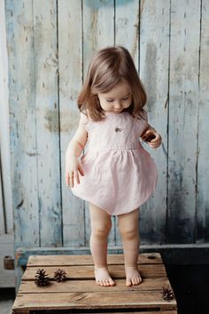 Linen Romper Pink Baby Romper Washed Linen Hand Made