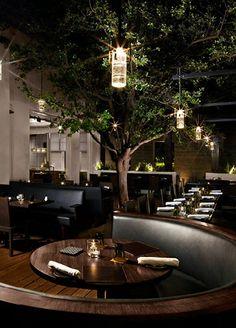 """Das """"Bourbon Steak"""" Restaurant in Arizona! Luxury Restaurant, Restaurant Lounge, Restaurant Concept, Bar Lounge, Restaurant Interior Design, Lounge Chairs, Outdoor Restaurant Design, Restaurant Lighting, Beach Chairs"""