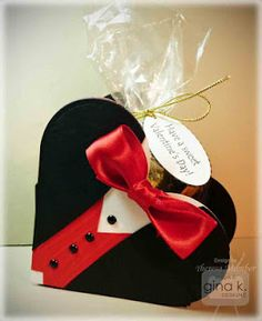 Tuxedo Heart Box by TheresaCC - Cards and Paper Crafts at Splitcoaststampers Valentines Bricolage, Valentine Day Crafts, Love Valentines, Homemade Valentines, Craft Gifts, Diy Gifts, Cadeau St Valentin, Valentin Nap, Heart Shapes