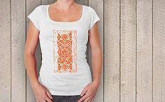 Biele dámske tričko s motívom tetrova - oranžová