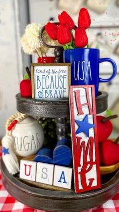4th Of July Celebration, 4th Of July Party, Raffle Gift Basket Ideas, Happy Fourth Of July, July 4th, Country Farmhouse Decor, Farmhouse Ideas, 4th July Crafts, 4th Of July Decorations
