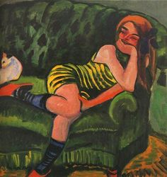 Max Pechstein, Girl on a Green Sofa with a Cat, 1910