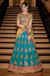 Show details for Gripping gold & blue worked lehenga