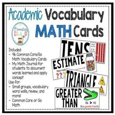 Do you have a hard time keeping up with math academic vocabulary?  Do your students need a visual to help them remember? These cards are easy to read and provide a perfect visual to help the brain understand the vocabulary word being taught.This download
