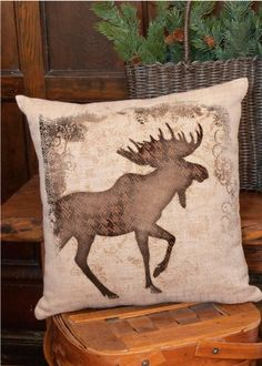 15 Quot Northwoods Bear And Moose Accent Pillow With Removable