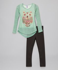 Love this Mint Owl Tunic & Black Leggings - Toddler & Girls on #zulily! #zulilyfinds