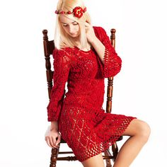 Crocheted red dress Short lace dress MADE TO ORDER by VVooLKa