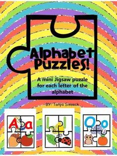 Great literacy activity for early elementary learners!  This product includes 0ne 4-piece jigsaw puzzle for each letter of the alphabet.  Each puzzle consists of the upper case letter, the lower case letter and 3 pictures with corresponding beginning sounds.
