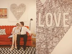 Mid Century Mod Wedding Ideas - > I would love the heart to have the wedding date in the middle instead of words! 6-7-14