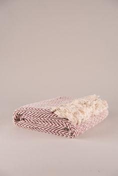 Rosewood Geometric Cotton Herringbone Throw