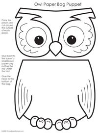 Paper bag puppet pattern, One of the patterns I will use on Thursday August 28th at 10:30 a.m. JO